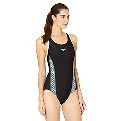 Speedo - Black/Blue Monogram Racerback Swimsuit