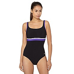 Speedo - Black/Purple 'Speedo Sculpture' Crystalshine Printed 1 Piece Swimsuit