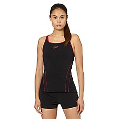 Speedo - Black/pink 'Speedo Fit' tankini set