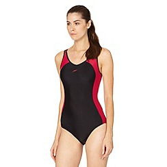 Speedo - Black/Red Essential Winner Clipback 1 Piece Swimsuit