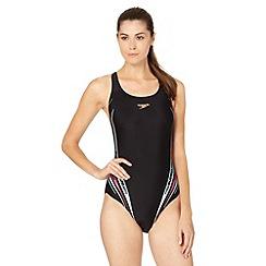 Speedo - Black/Blue Placement Powerback Swimsuit