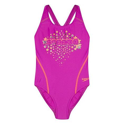 Speedo - Purple/Orange Logo Placement Splashback Swimsuit