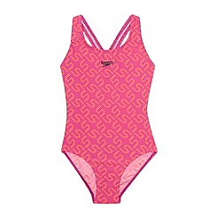 Speedo - Girl's pink logo splash back swimsuit