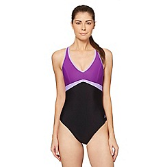 Zoggs - Black colour block swimsuit