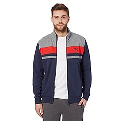 Puma - Navy striped funnel neck sweat jacket