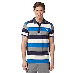 Puma - Blue striped pique polo shirt