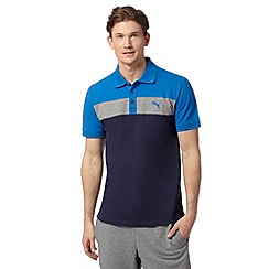 Puma - Navy pique big block striped polo shirt
