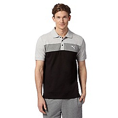 Puma - Black pique big block striped polo shirt