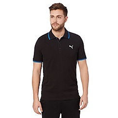 Puma - Black pique regular fit polo shirt