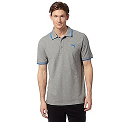 Puma - Grey pique regular fit polo shirt