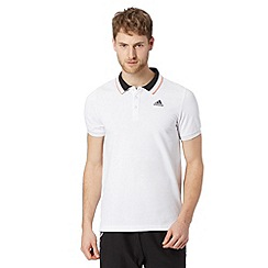 adidas - White embroidered logo polo shirt