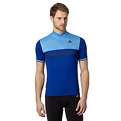 adidas - Blue zip neck jersey top