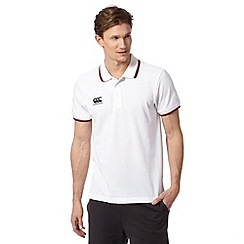 Canterbury - White embroidered logo tipped polo shirt