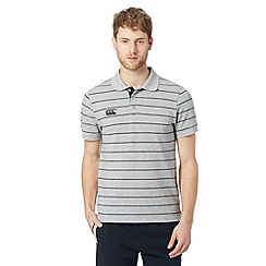 Canterbury - Grey striped pique polo shirt