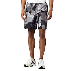 adidas - Black graphic woven long gym shorts