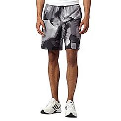adidas - Black graphic woven long gym shorts