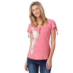 Animal - Pink placement floral print t-shirt
