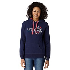 Animal - Navy embroidered logo hoodie