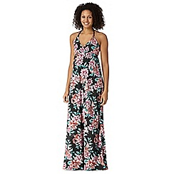 Animal - Black floral halter maxi dress