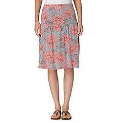 Animal - Peach floral print knee length skirt