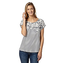 Weird Fish - Navy striped beach print top