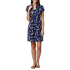 Weird Fish - Navy dragonfly print dress