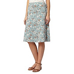 Weird Fish - Light green leaf print jersey skirt
