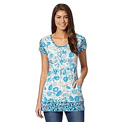 Weird Fish - Blue floral scoop neck top