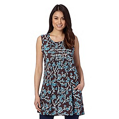 Weird Fish - Brown tunic blossom print crosshatch tunic
