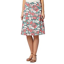 Weird Fish - Green floral reversible woven skirt