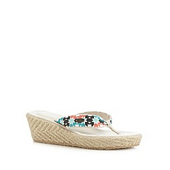 Animal - Natural geometric espadrille mid wedges