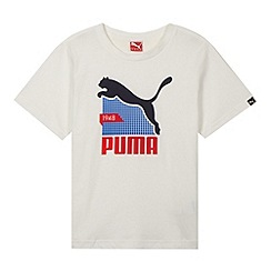 Puma - Boy's white grid logo print t-shirt