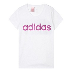 adidas - Girl's white sport linen t-shirt