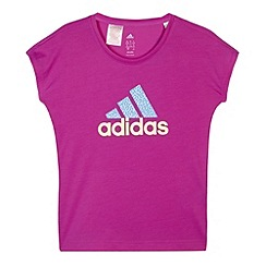 adidas - Girl's bright purple printed logo technical t-shirt
