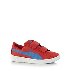 Puma - Boy's red 'Smash' canvas trainers