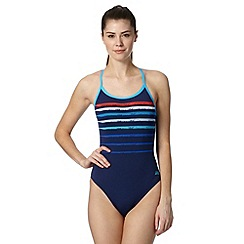 Zoggs - Navy striped chlorine proof swimsuit