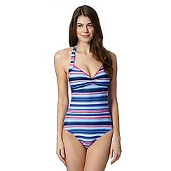 Zoggs - Navy striped tummy control swimsuit
