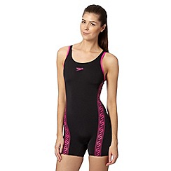 Speedo - Black monogram legsuit swimsuit