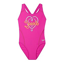 Speedo - Pink logo placement splashback swimsuit