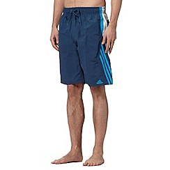 adidas - Blue side striped swim shorts