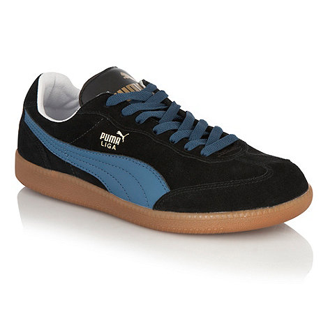 Puma - Black suede contrast sole trainers