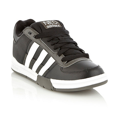 adidas - Black leather padded +Neo+ trainers