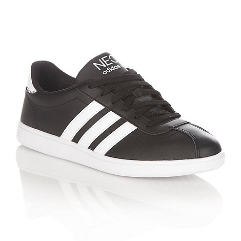 adidas - Black leather +Court+ trainers