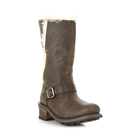 Caterpillar - Brown leather shearling boots