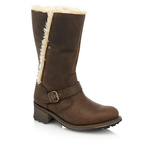 Caterpillar - Brown faux fur and buckled boots