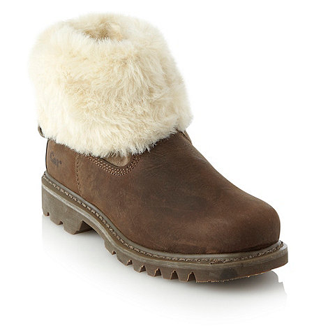 Caterpillar - Brown leather faux fur lined ankle boots