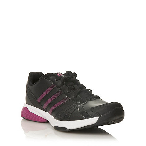 adidas - Black leather trainers with purple trim