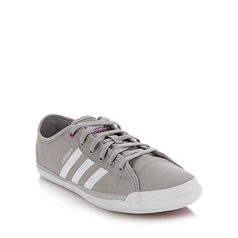 adidas - Grey +Neo+ canvas trainers