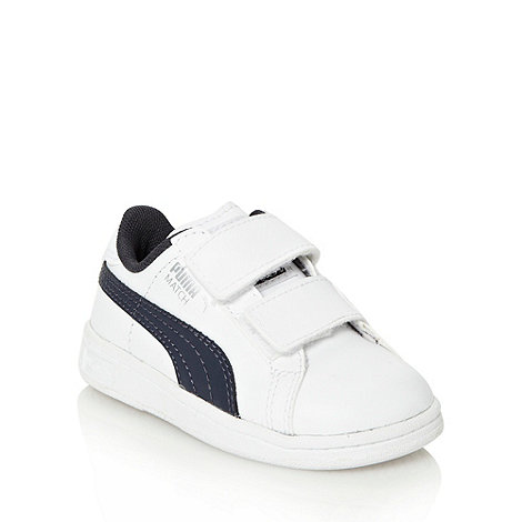 Puma - Babies' white 'Match' rip tape fastened trainers