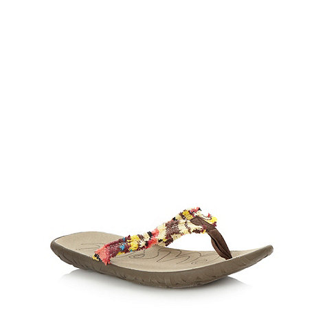 Cushe - Brown striped fray flip flops